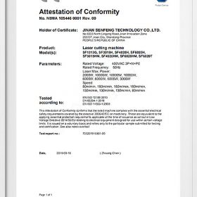 Senfeng Laser products CE/FDA/ETL certifications