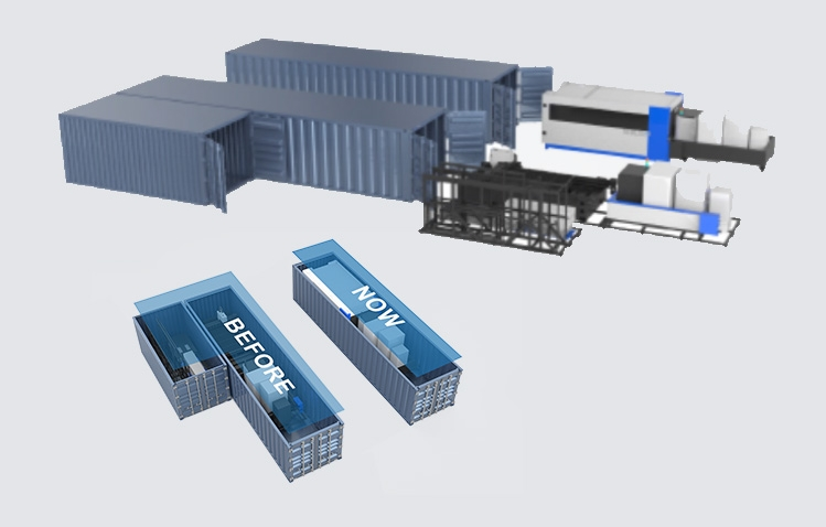 To show the space advantage of the space saver fiber laser cutter machine